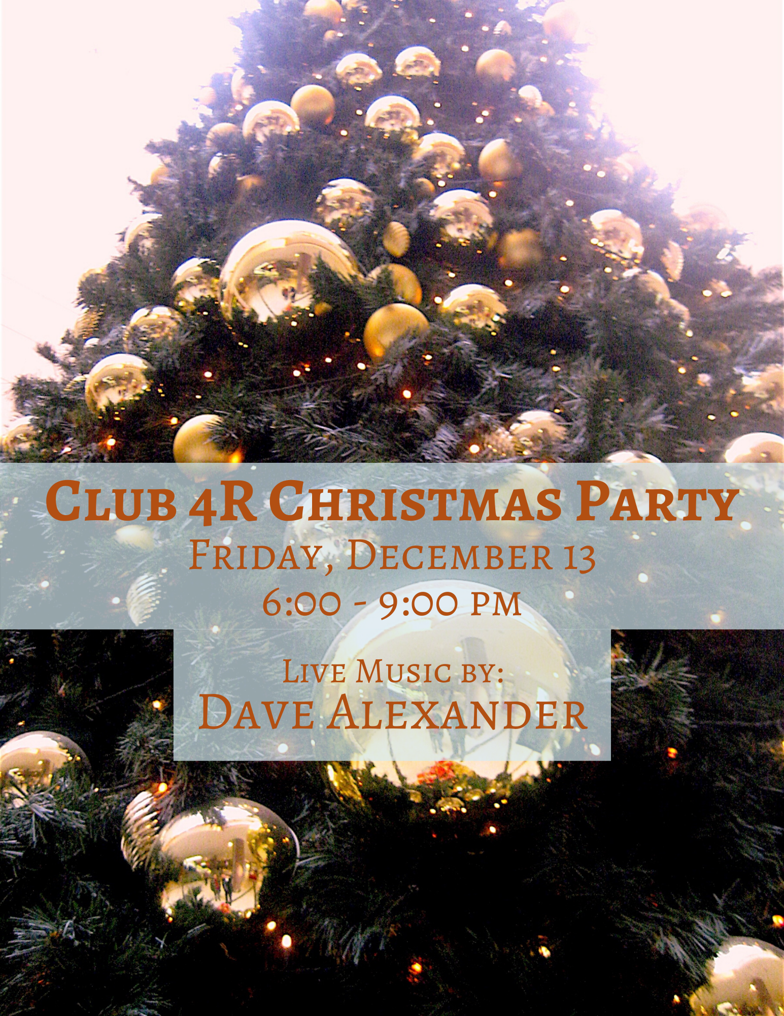 Club 4R Christmas Party - Friday, December 13
